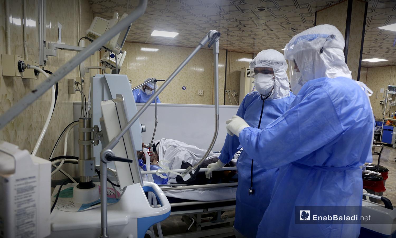 الطاقم الطبي في مستشفي الزراعة التابعة لمنظمة السامز - 18 تشرين الأول 2020 (عنب بلدي / يوسف غريبي)
