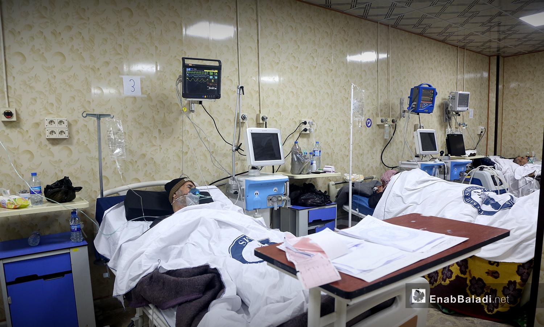 غرفة العناية المركزة داخل مشفى الزراعة بمحافظة إدلب - 18 تشرين الأول 2020 (عنب بلدي / يوسف غريبي)