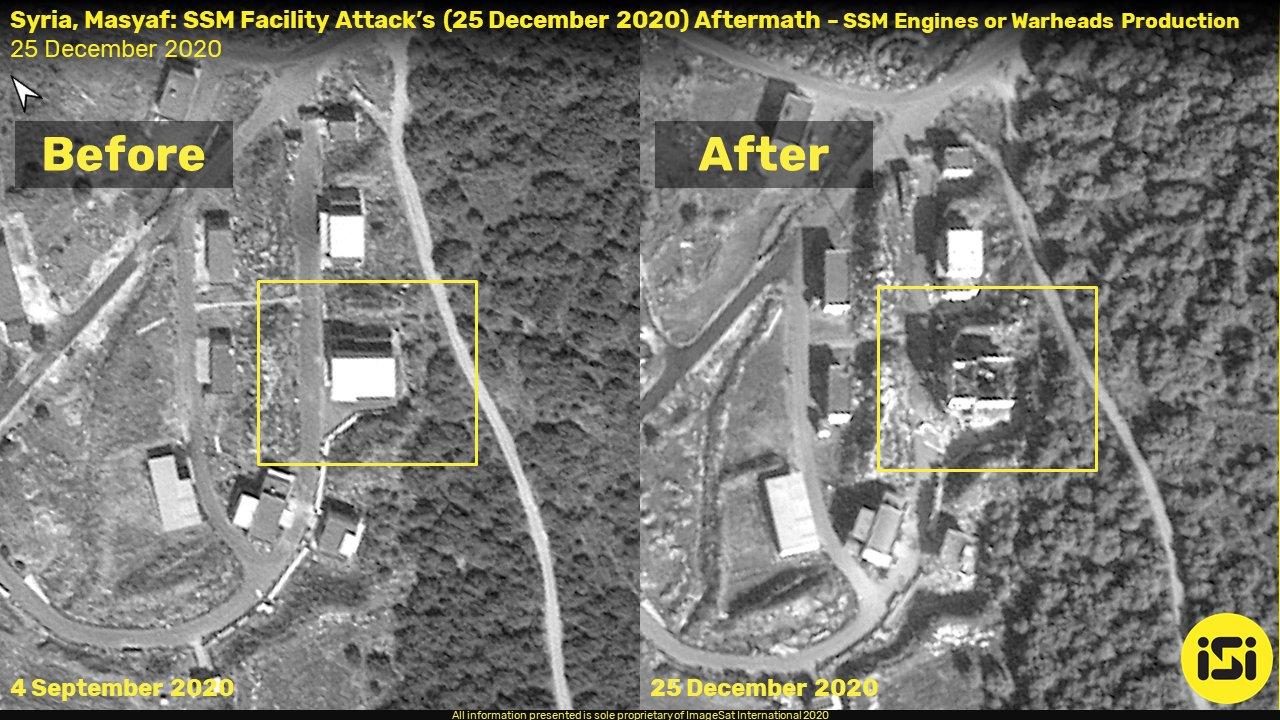 صور أقمار صناعية لقصف استهدف مركز البحوث العلمية - 25 كانون الأول 2020 (ISI)