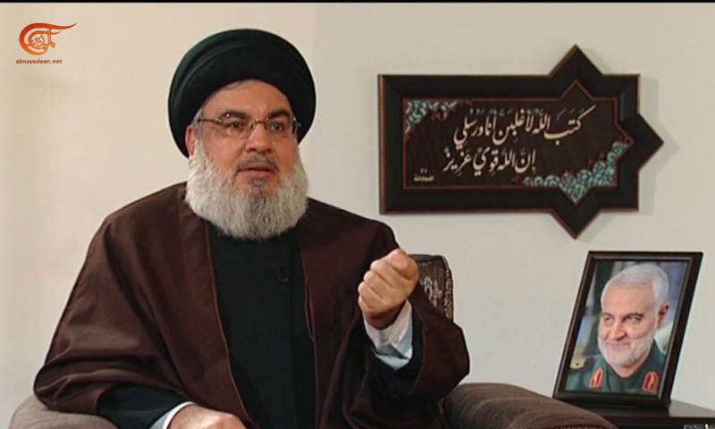 الأمين العام لحزب الله حسن نصر الله في مقابلة مع قناة الميادين (موقع القناة)