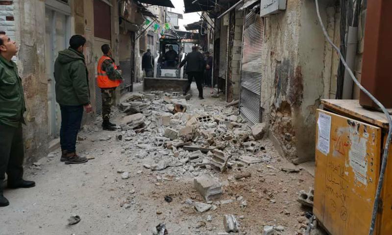 انهيار مبنى في حي الشاغور بدمشق - 2020 (جريدة الوطن)