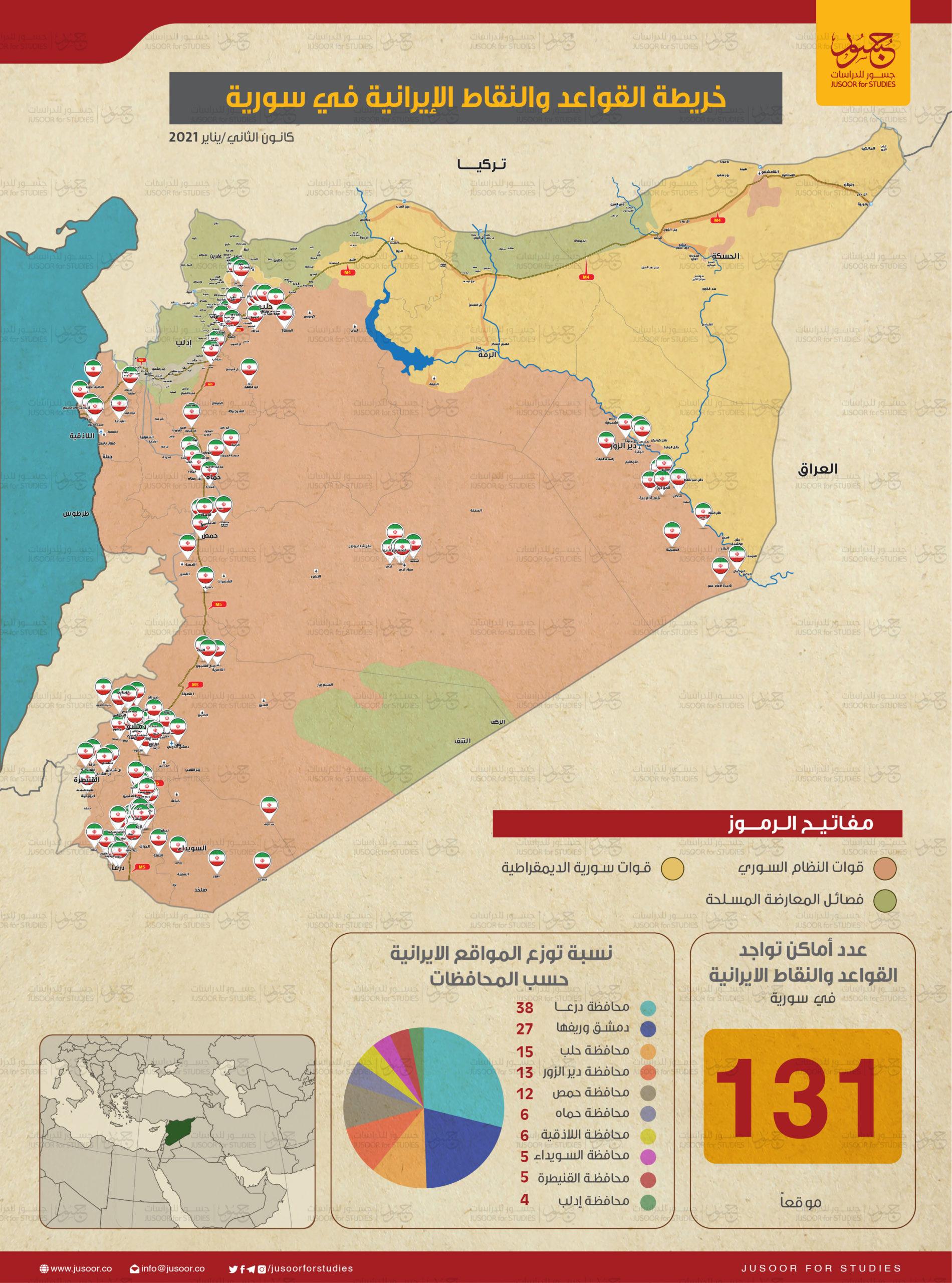 خريطة القواعد والنقاط الإيرانية في سوريا (مركز جسور للدراسات)