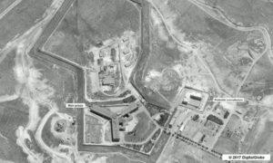 صورة مأخوذة بواسطة القمر الصناعي لمجمع سجن صيدنايا خارج دمشق. وشمل التقرير أكثر من 1200 سجين سابق وأفراد عائلاتهم. وكالة حماية البيئة