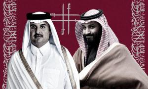 أمير قطر تميم بن حمد وولي العهد السعودي محمد بن سلمان (عنب بلدي)