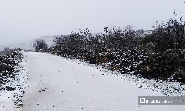الثلوج في الطرق الفرعية في القني - 21 كانون الثاني 2021 (عنب بلدي)