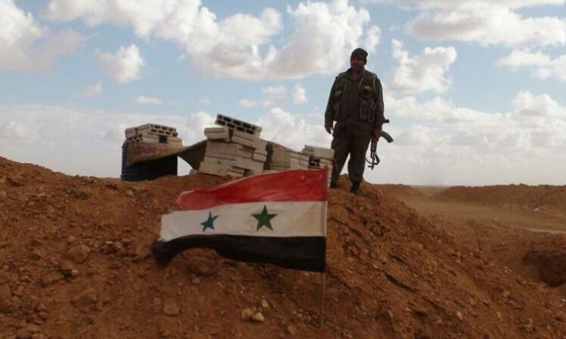 جندي من قوات النظام السوري يقف قرب علم النظام - (NGUOIDUATIN)