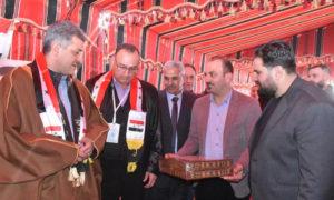 مسؤولون في افتتاح مدرسة اللطامنة الجنوبية في ريف حماة الشمالي - 8 كانون الثاني 2021 (مجلس مدينة اللطامنة)