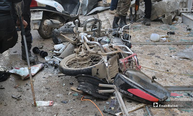 آثار انفجار قرب مقر الحكومة المؤقتة في مدينة اعزاز - 31 من كانون الثاني 2021 (عنب بلدي/بشار الفارس)
