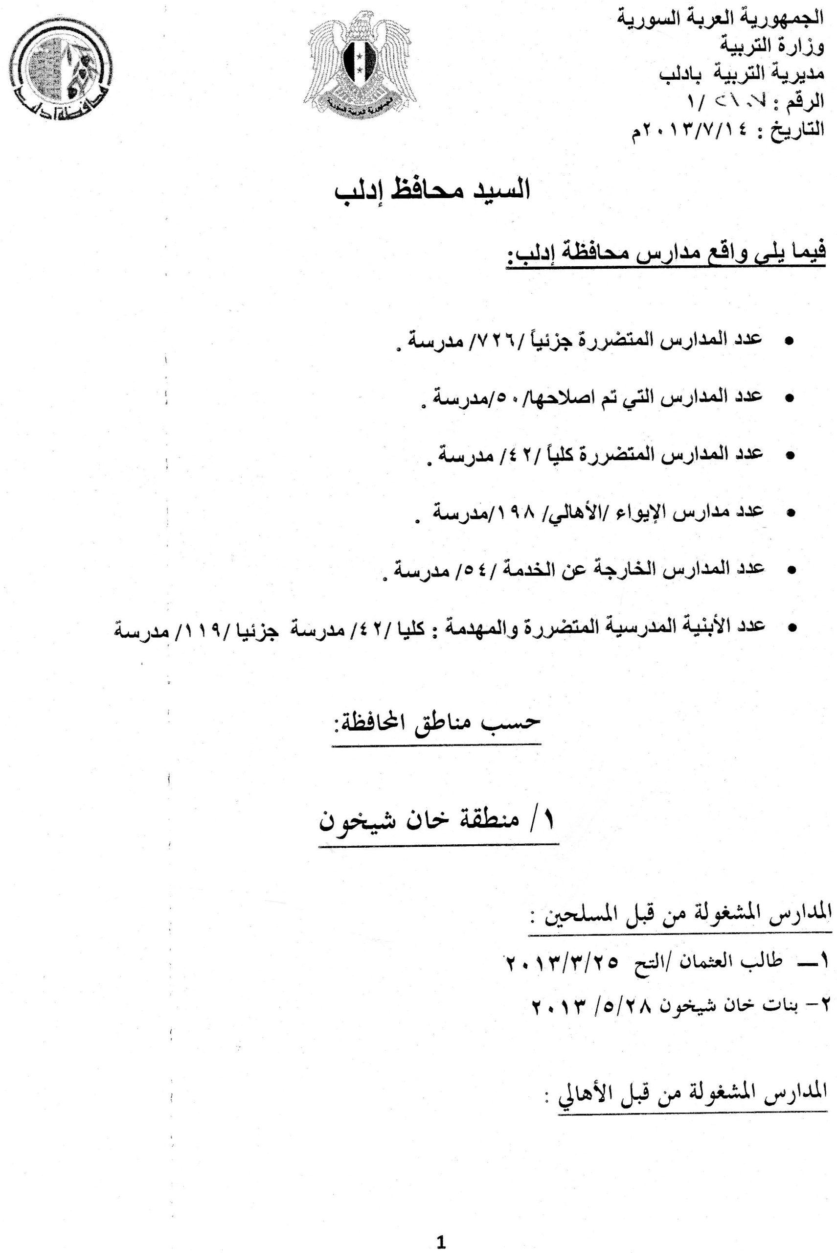 """الوثائق التي نشرها """"المركز السوري للعدالة والمساءلة"""" والتي تبرهن على وجود مدارس متضررة في سوريا"""