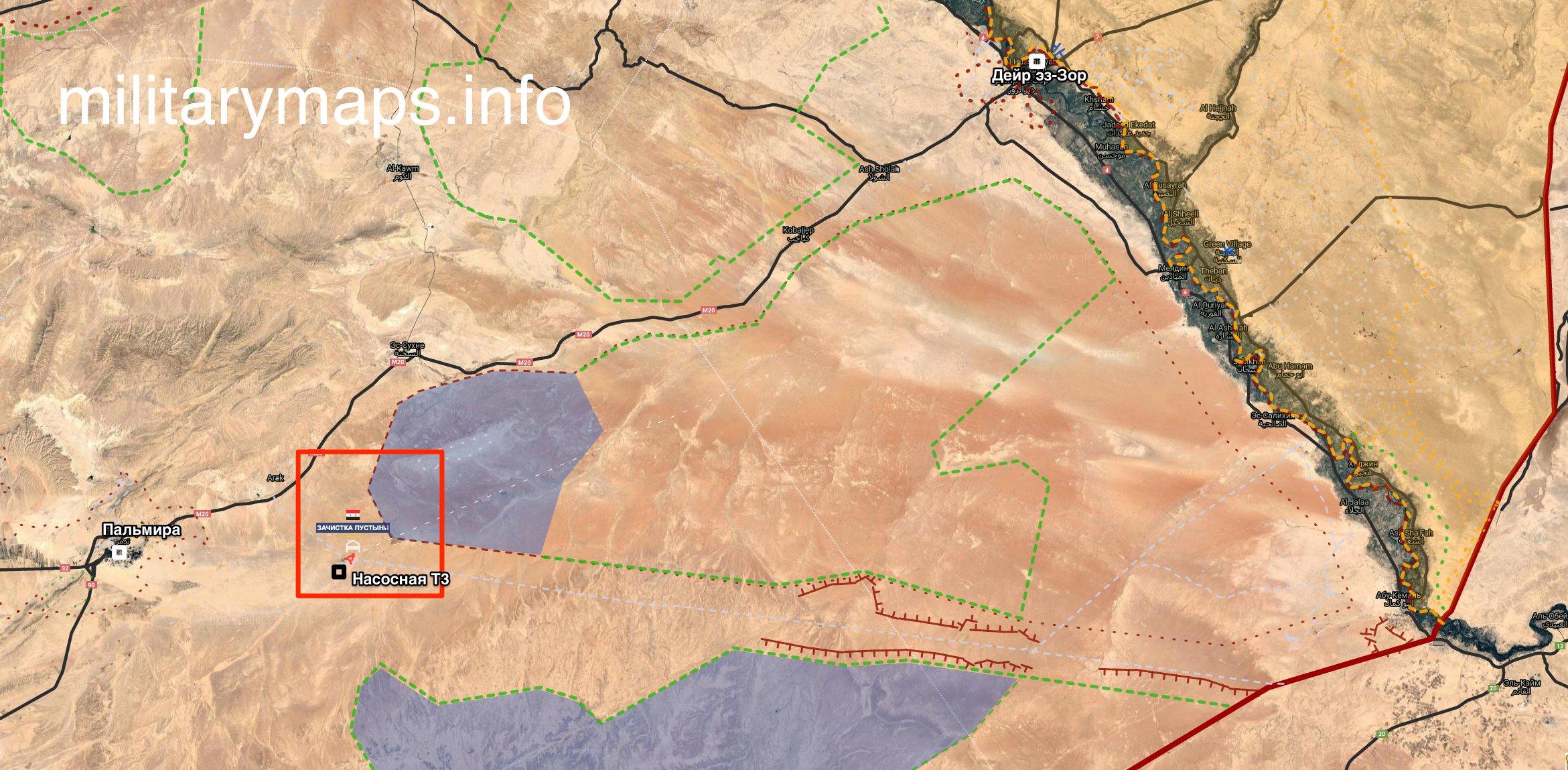 """خريطة توضح مكان محطة """"T3"""" وأماكن تحركات تنظيم """"الدولة"""" بين في منطقة كباجب بين دير الزور وتدمر (MilitaryMaps)"""