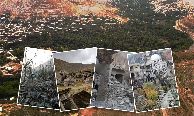الدمار الحاصل في قرى وادي بردى بريف دمشق، تعديل عنب بلدي، 2021.