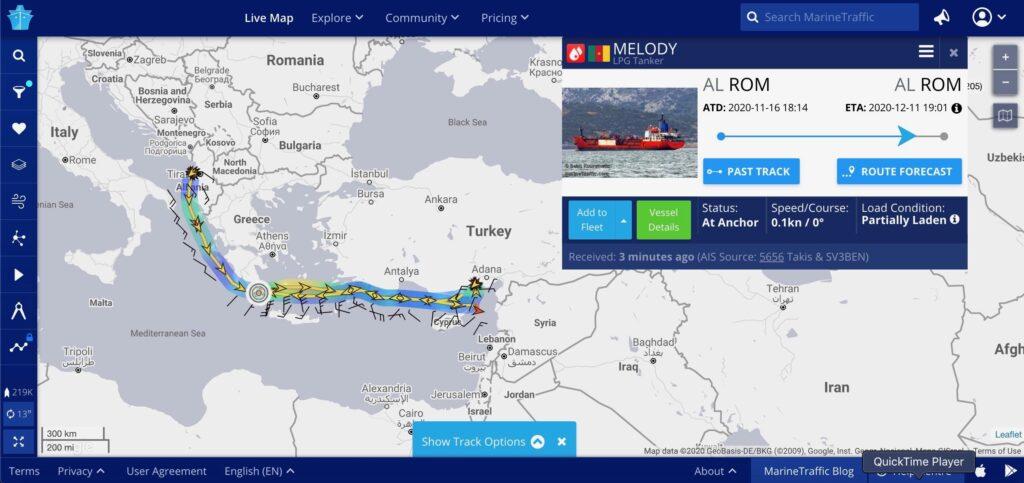 خريطة توضح المسار السابق لميلودي، 7 من تشرين الأول 2020 المصدر:MarineTraffic