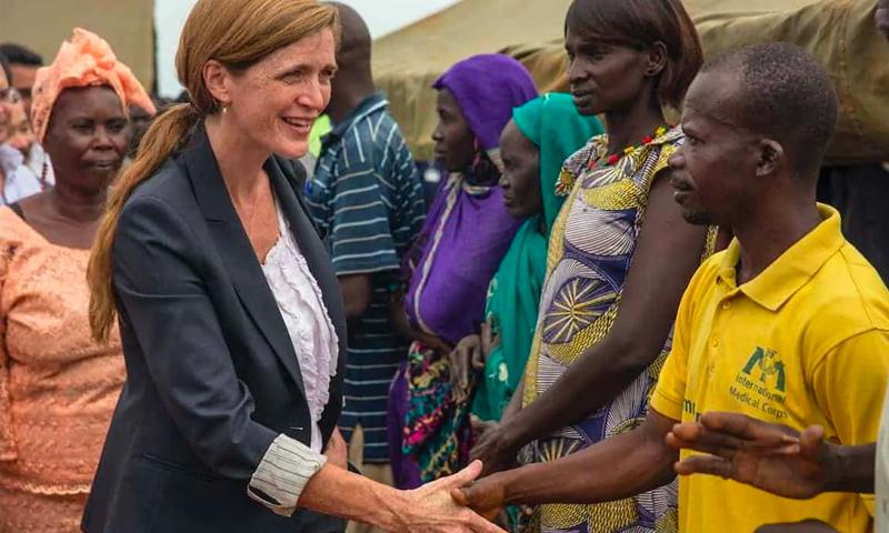 السفيرة الأمريكية السابقة في الأمم المتحدة سامانثا بور في زيارة إلى السودان - 2016 (UNMISS)