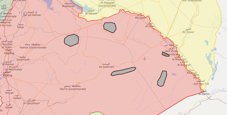 خريطة السيطرة الميدانية في البادية السورية - 9 كانون الثاني 2021 (livemap)