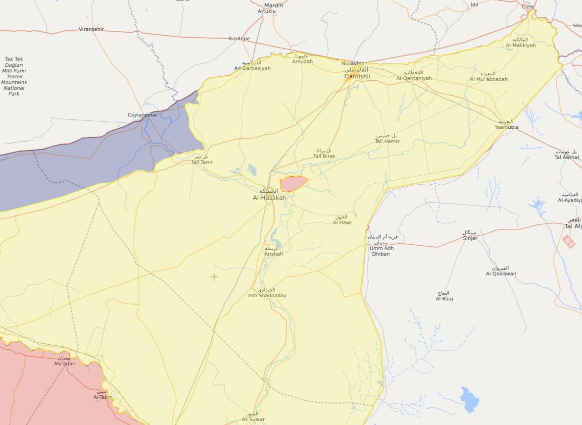 خريطة تظهر توزع السيطرة في شمال شرقي سوريا - 12 كانون الثاني 2021 (Livemap)