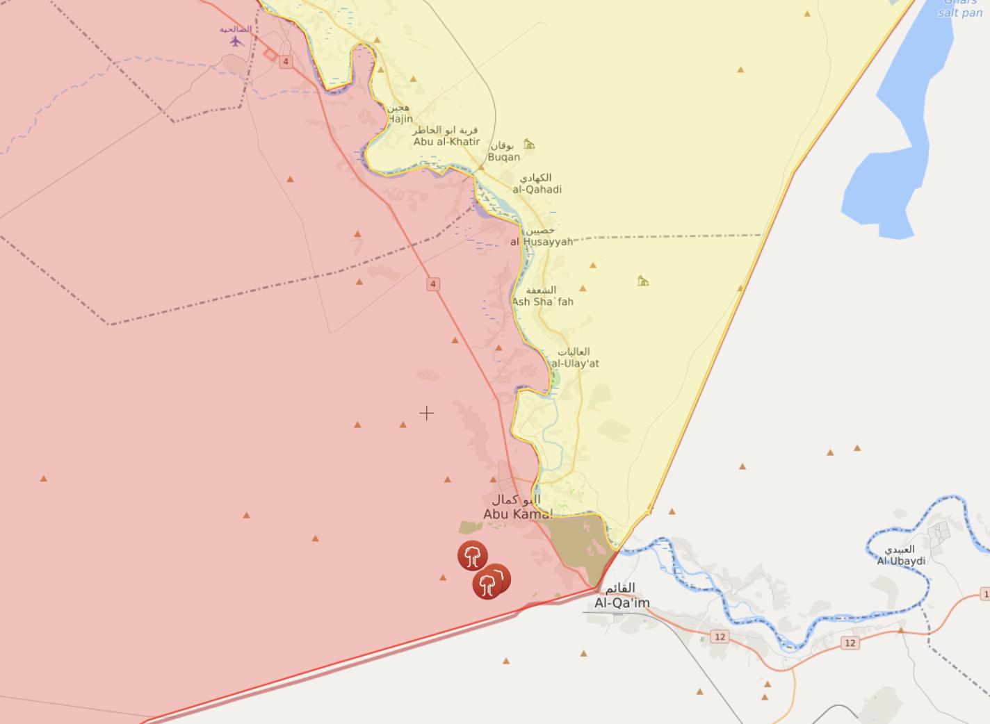 موقع الغارات في منطقة البوكمال شرقي سوريا على الحدود العراقية - 13 كانون الثاني 2021 (livemap)