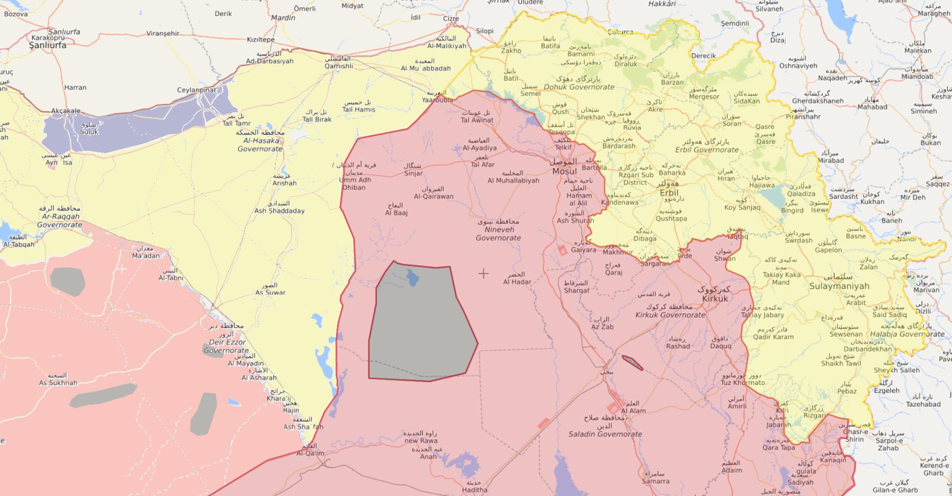 خريطة النفوذ على الحدود السورية العراقية حيث يظهر اللون الأصفر نفوذ القوات الكردية على جانبي الحدود - 24 من كانون الثاني 2020 (تعديل عنب بلدي/livemap)