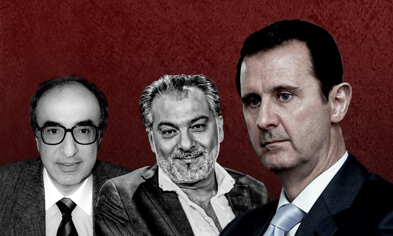 رئيس النظام السوري بشار الأسد والمخرج حاتم علي والموسيقار الياس الرحباني (تعديل عنب بلدي)