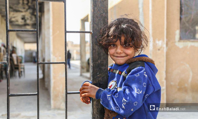 أطفال في مدرسة آفس في ريف إدلب - 10 من شباط 2021 (عنب بلدي)