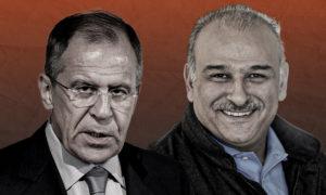 المعارض السوري جمال سليمان ووزير الخارجية الروسي سيرغي لافروف (تعديل عنب بلدي)