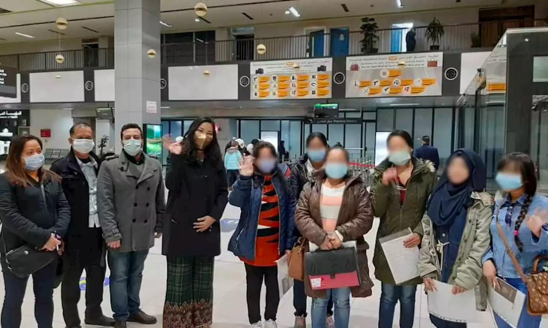 الدفعة الأولى من عاملات الخدمة اللواتي تعرضن لانتهاكات في سوريا تصل الفلبين- 6 شباط 2021 (وكالة أنباء الفلبين)