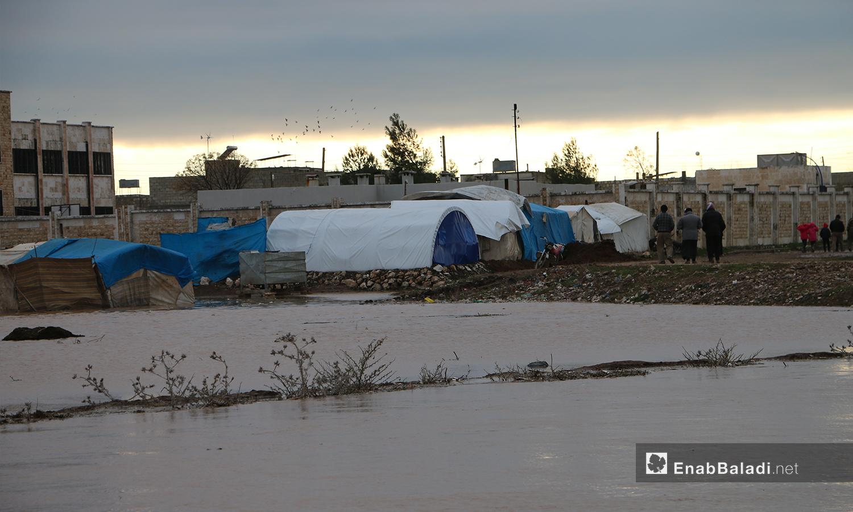 خيام وأراضي زراعية على طرفي نهر قويق مغمورة بالمياه بعد فيضان النهر في بلدة دابق بريف حلب الشمالي - 31 كانون الثاني 2021 (عنب بلدي - عبد السلام مجعان)