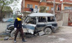 """انفجار سيارة مفخخة في قرية بكسريا في 15 من آذار ( المصدر_ صفحة الدفاع المدني السوري في """"فيسبوك"""")"""