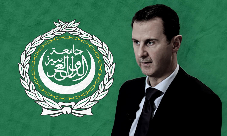 رئيس النظام السوري بشار الأسد وشعار جامعة الدول العربية (تعديل عنب بلدي)