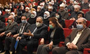"""وزير الأوقاف محمد عبد الستار السيد في إطلاق حملة """"أيام الأسرة السورية"""" (المصدر_ سانا)"""