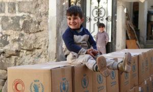 توزيع السلال الغذائية في درعا - 2021 (الهلال الأحمر السوري)