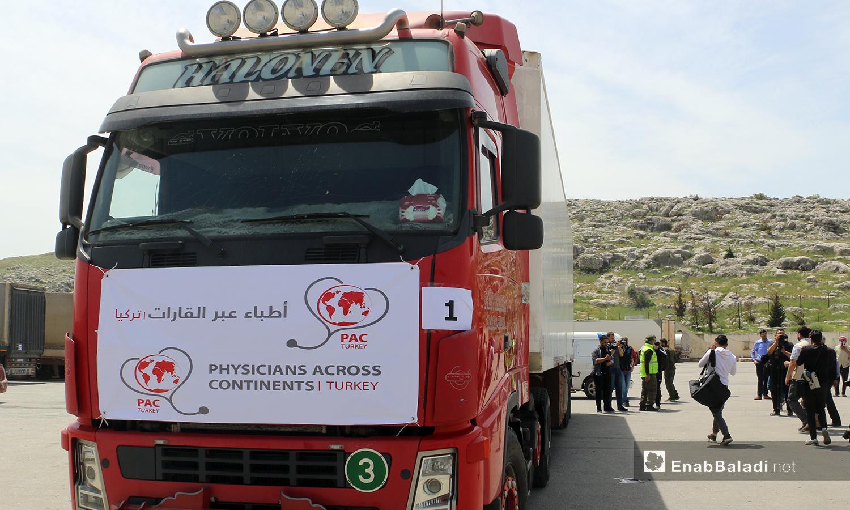 """وصول الدفعة الأولى من لقاح """"كورونا"""" إلى الشمال السوري عبر باب الهوى، 21 من نيسان 2021 (عنب بلدي)"""
