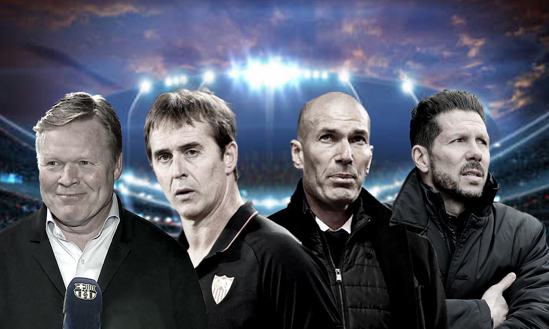 مدربو الفرق الأربعة الأولى في ترتيب الدوري الإسباني (عنب بلدي)