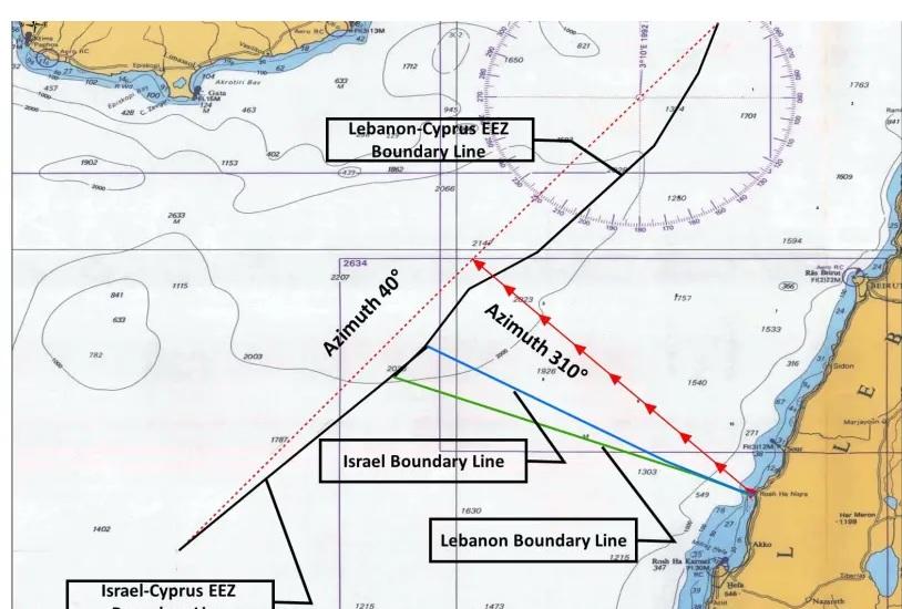 """الحدود البحرية المقترحة بين إسرائيل ولبنان، صحيفة """"جيروزاليم بوست""""، 2021."""