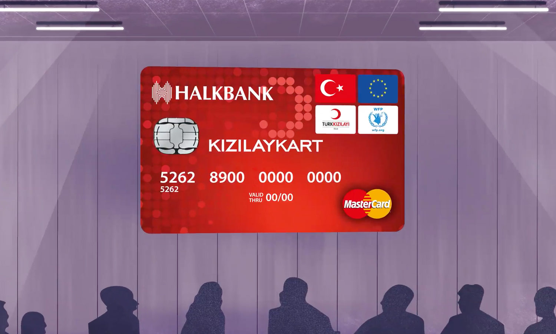 """كرت بنك """"هالك"""" الذي يقدمه الهلال الأحمر لاستلام المساعدة الشهرية (الهلال الأحمر التركي)"""