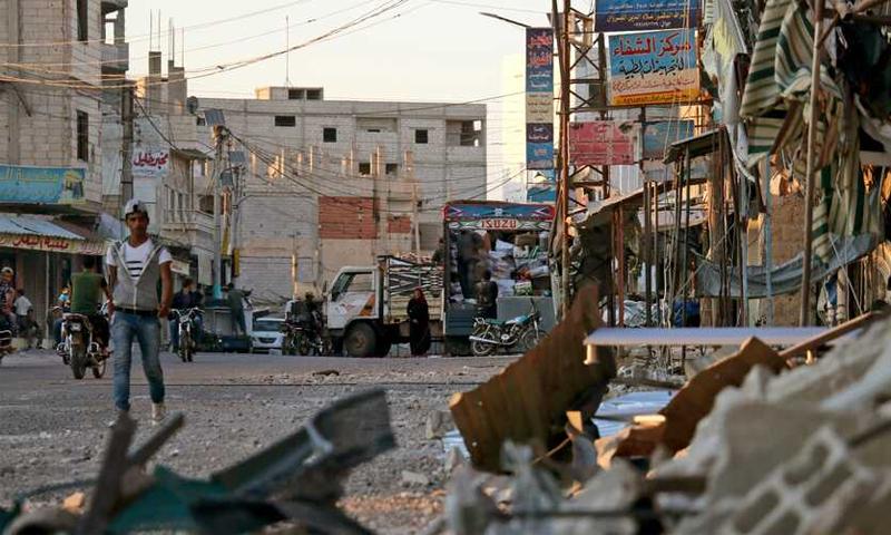 الركام في مدينة نوى شمالي درعا - 2018 (AFP)