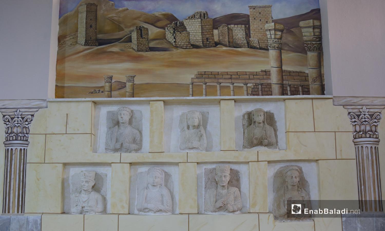 تماثيل حجري في متحف مدينة إدلب، مهربة من آثار تدمر إلى الشمال السوري شباط 2021 (عنب بلدي - يوسف غريبي)