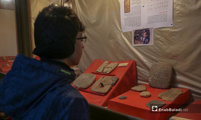 طفل يشاهد قطع أثرية في متحف مدينة إدلب , شباط 2021 (عنب بلدي - يوسف غريبي)