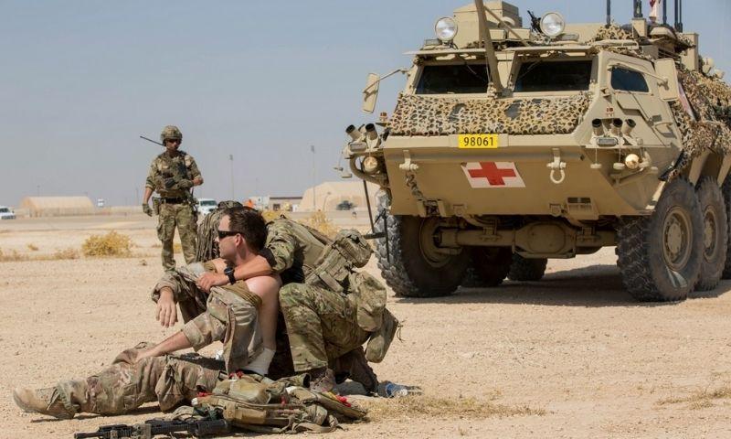 جنود في التحالف الدولي يتدربون على إخلاء قاعدة عين الأسد الأمريكية في العراق - تشرين الأول 2019 (غرفة عمليات العزم الصلب)