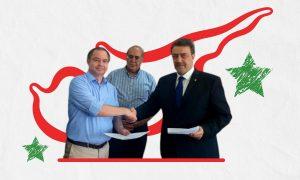 نقيب المحامين السوريين الفراس فارس وسيفاك أفيديسيان القائم بالأعمال لجمهورية قبرص خلال توقيع عقد بناء بدمشق - 30 من أيار 2021 (نقابة المحاميين السوريين/ تعديل عنب بلدي)