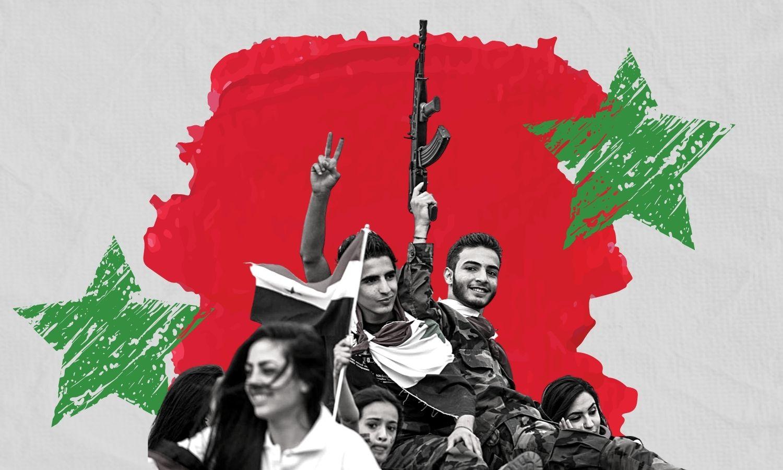 مناصرون لرئيس النظام السوري في حملات انتخابية لعام 2021 (Xhinhua/ تعديل عنب بلدي)