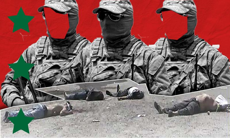 جثث قتلى مجزرة البيضا في بانياس على يد قوات الدفاع الوطني وحزب الله وقوات النظام السوري - 2 أيار 2013 (تعديل عنب بلدي)