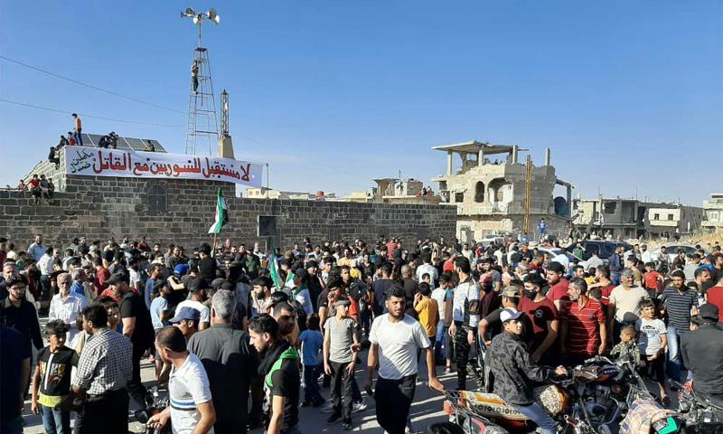 مظاهرة في درعا رفضًا للانتخابات الرئاسية - 25 أيار 2021 (ناشطون)