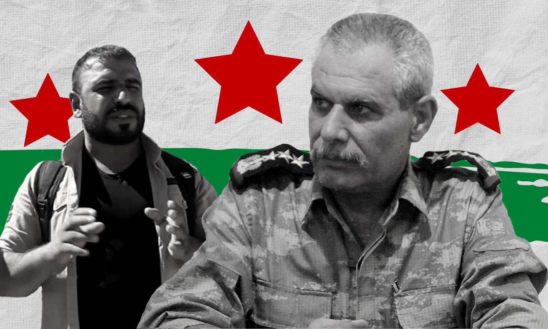 العميد السوري المنشق أحمد رحال والقيادي في الجيش الوطني محمد الجاسم أبو عمشة (عنب بلدي)