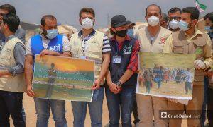 """ممثلون عن منظمات سورية عاملة في الشمال السوري خلال فعاليات مؤتمر """"شريان الحياة"""" في إدلب- 23 حزيران 2021 (عنب بلدي/أنس الخولي)"""