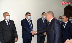 نائب رئيس الوزراء الروسي، يوري بوريسوف، مع مسؤولي النظام السوري بدمشق في 22 من حزيران (الوكالة السورية للأنباء)