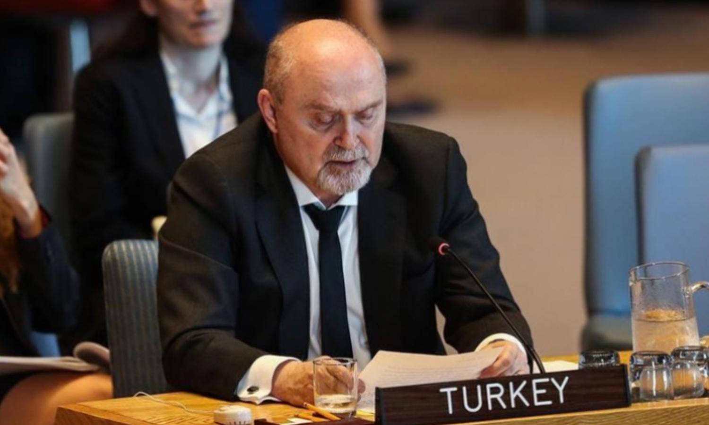 ممثل تركيا الدائم لدى الأمم المتحدة، فريدون سينيرلي أوغلو (الأناضول)