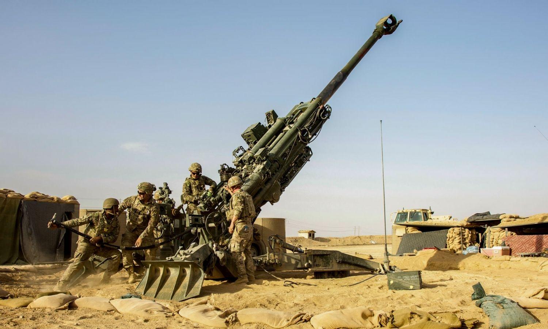 قوات أمريكية تتدرب على المدفعية في شمال شرقي سوريا - 14 حزيران 2021 (غرفة عمليات العزم الصلب)