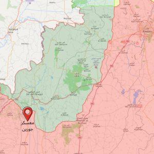موقع معسكر جورين في ريف حماة (Livemap/ EnabBaladi)