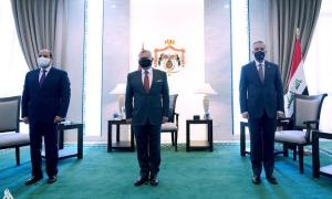 قمة ثلاثية في بغداد تجمع رئيس الوزراء العراقي، مصطفى الكاظمي، والعاهل الأردني عبد الله الثاني، والرئيس المصري، عبد الفتاح السيسي - 27 حزيران 2021 (واع)