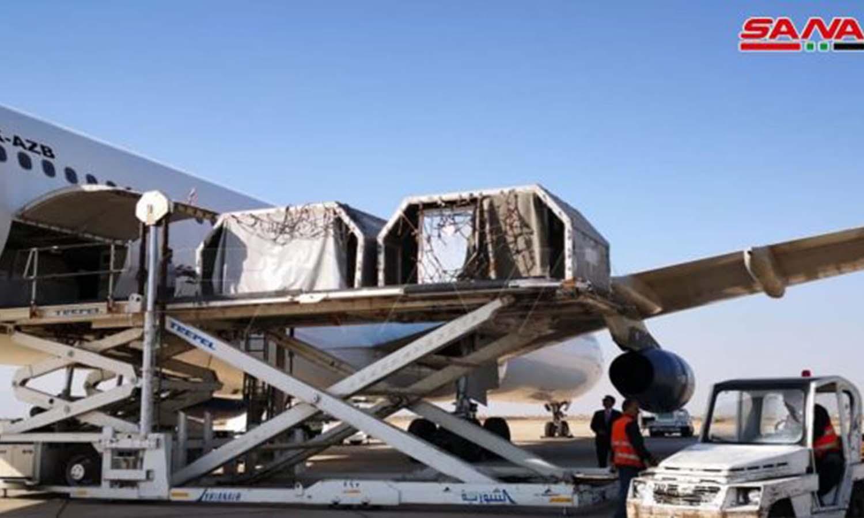 طائرة محملة بالمساعدات الطبية_ 29 من تموز 2021 (سانا)
